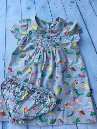 Mini Boden colourful bird pattern dress with peter pan collar age 2-3